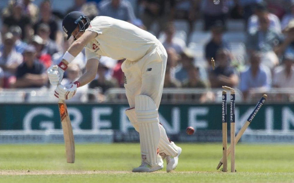 Joe Root loses his off stump at Trent Birdge against South Africa in 2017.