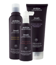 The 3-step system includes: STEP 1: EXFOLIATE invati™ exfoliating shampoo STEP 2: THICKEN invati™ thickening conditioner STEP 3: ACTIVATE invati™ scalp revitalizer