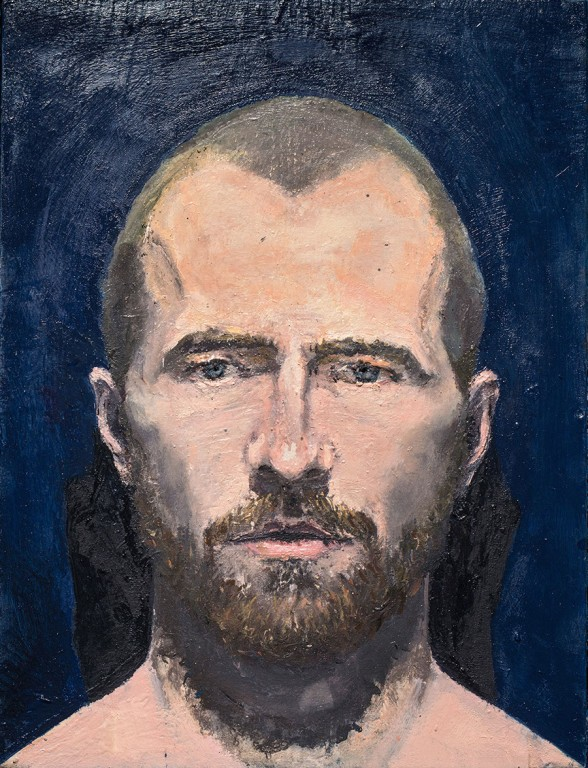 Self-portrait with glass eyes, 2014, oil on board and glass, 25,4 x 33,5 cm