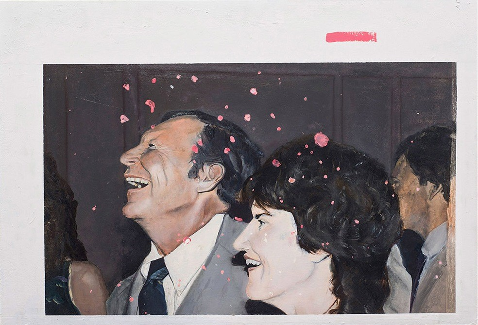 Parents wedding, 2014, enamel and oil on board, 80x 54,5 cm