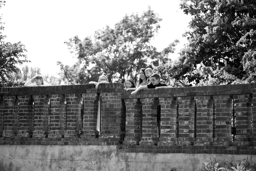 family looking over bridge - chelmsford family photography
