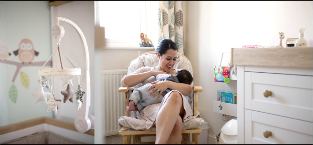 new mum breastfeeding baby boy in nursery