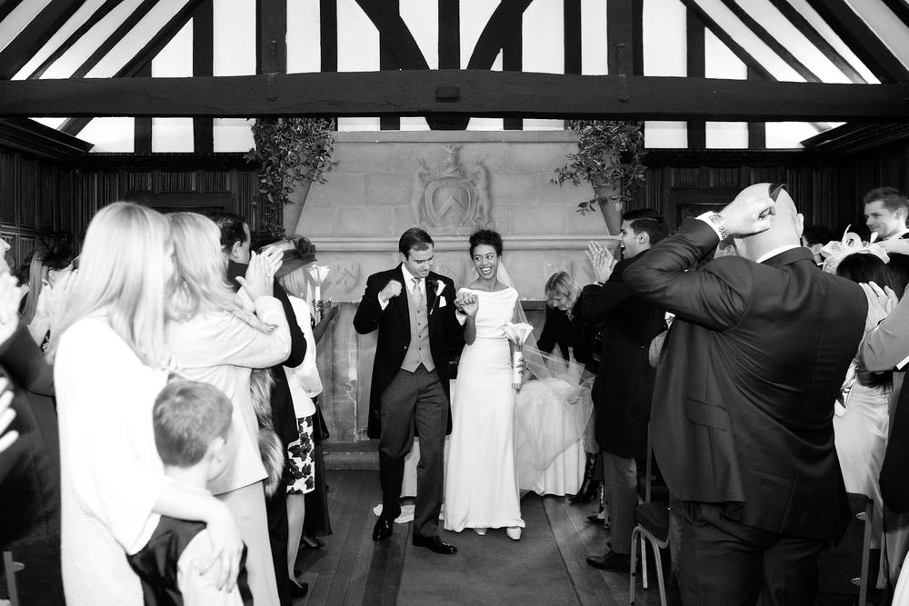 bride and groom just married at Leez Priory