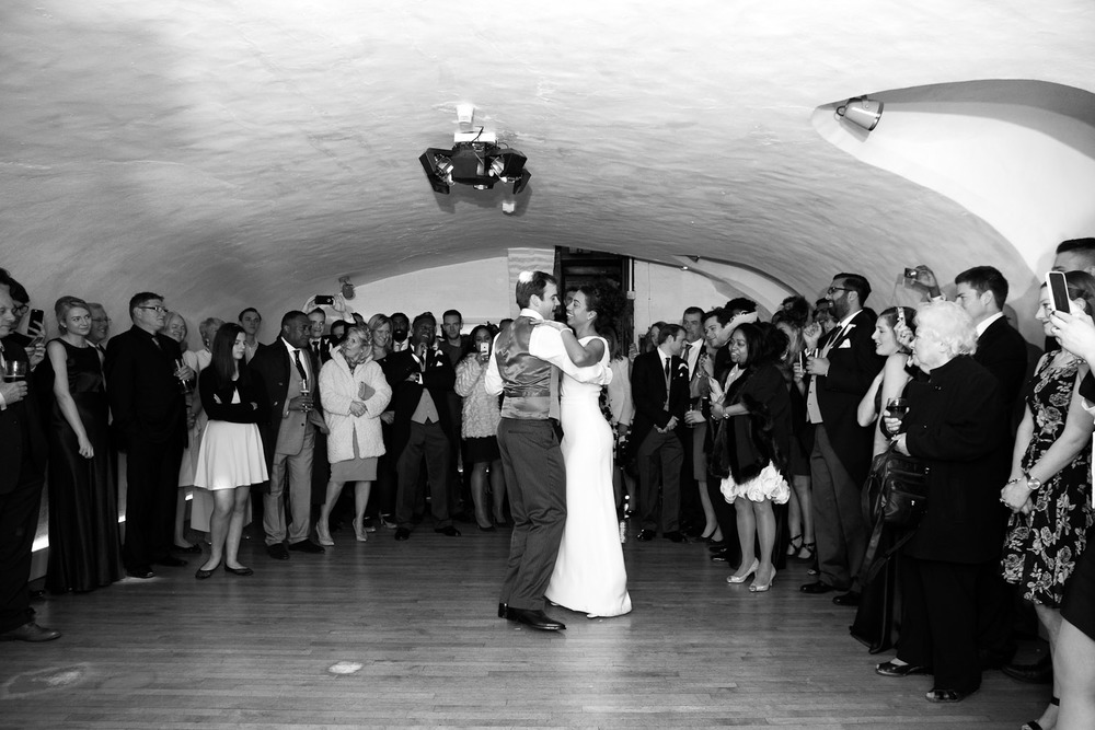 bride and grooms first dance at Leez Priory