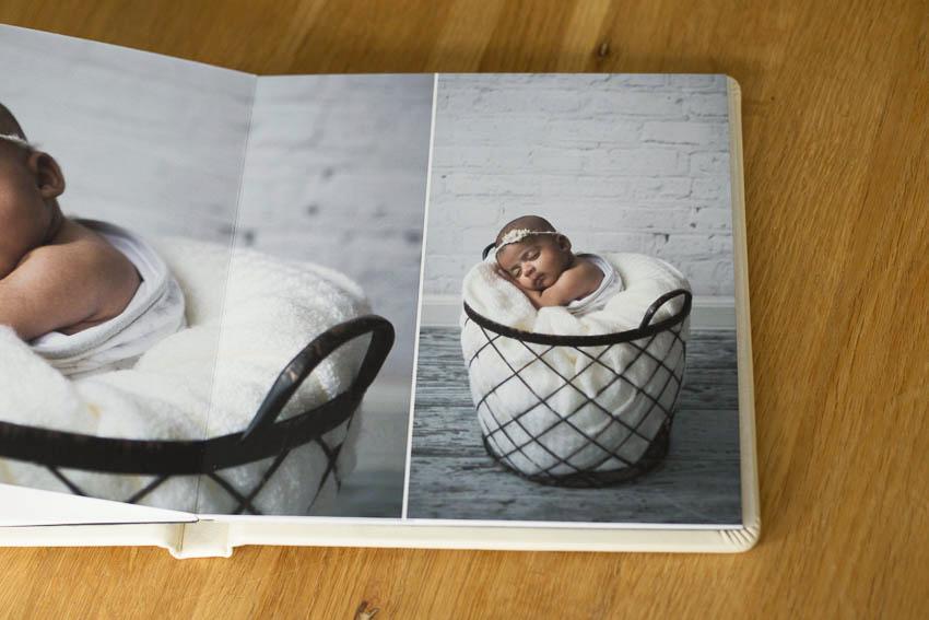 newborn baby photo in printed book