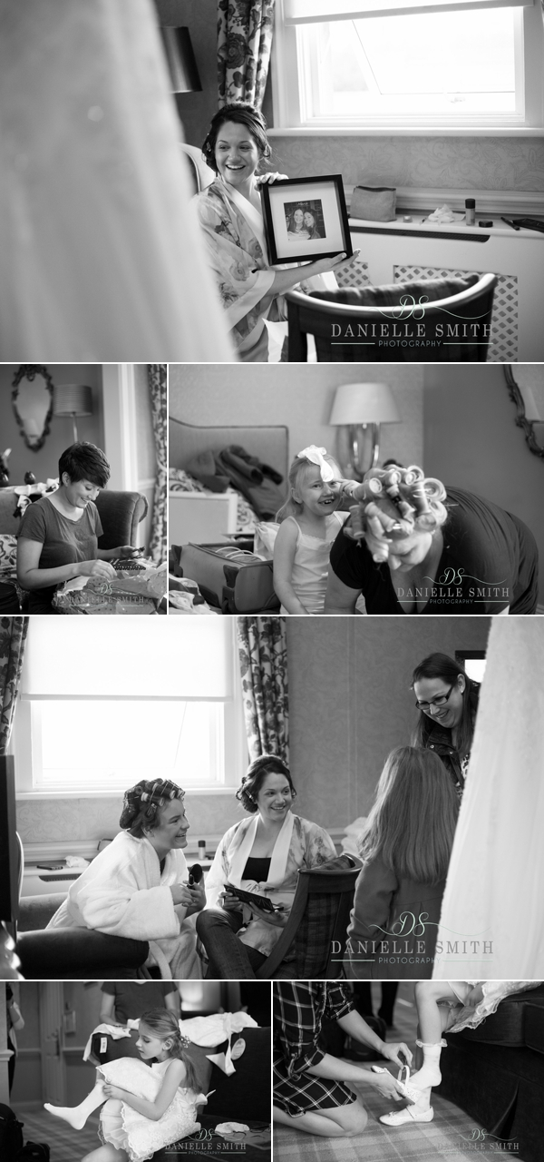 bridal preparations at down hall country house wedding