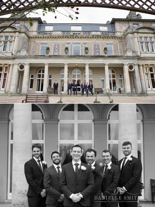 groomsmen outside Down Hall