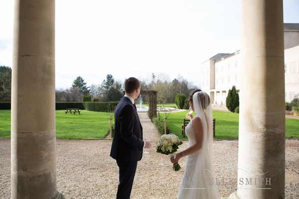 bride and groom outside Down Hall Country House