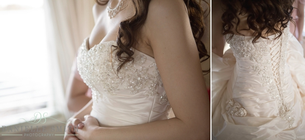 delicate beading on wedding dress