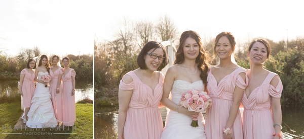 bride and bridesmaids in gardens - fennes wedding