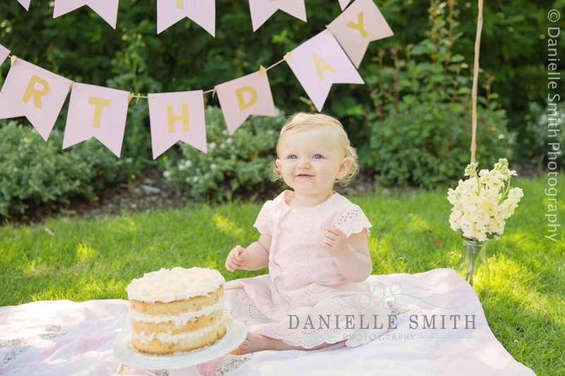 little girl with naked cake