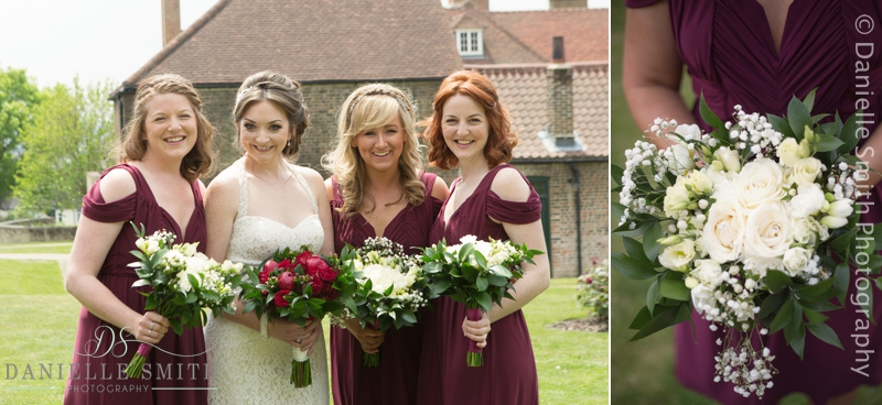bride and bridesmaids in burgundy dresses