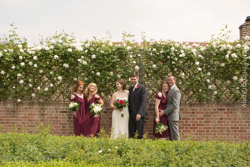 bridal party in rose gardens