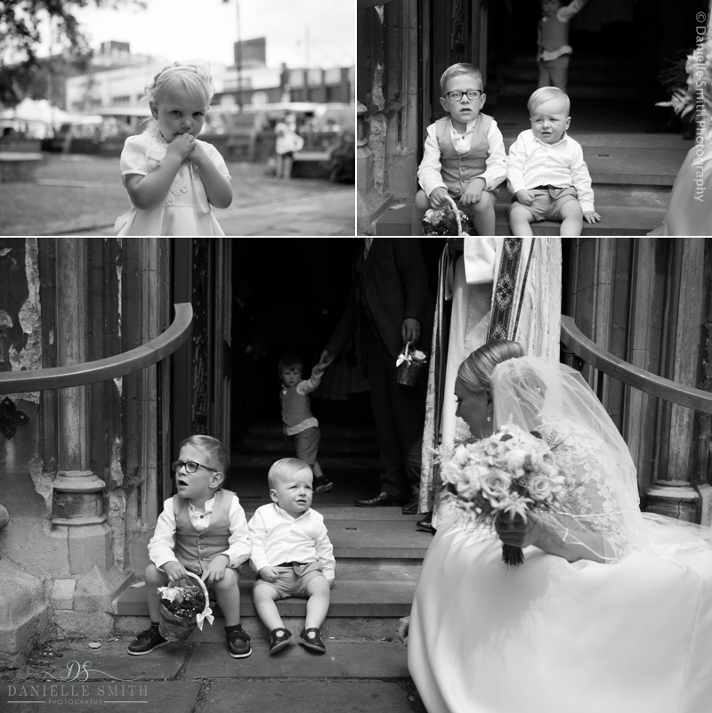 young bridal party waiting at church wedding