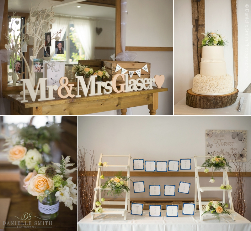 wedding decor at Maidens barn wedding