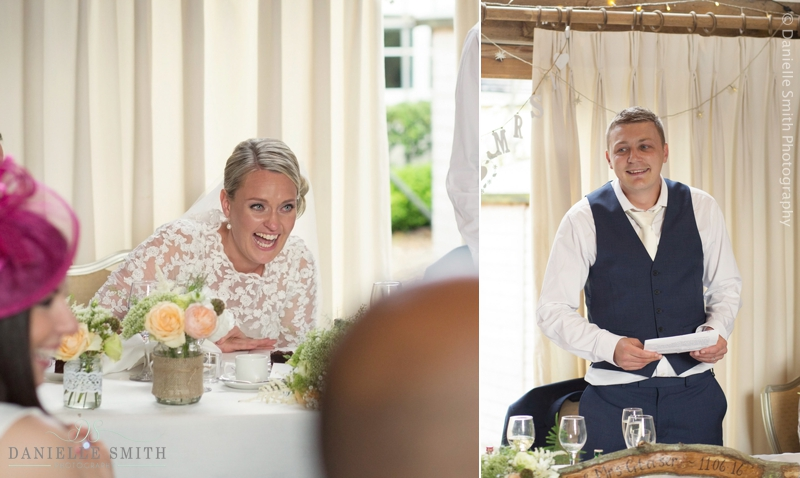 bride and groom laughing during speeches - maidens barn wedding