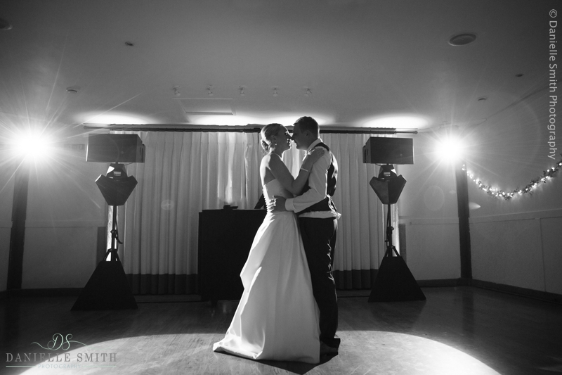 bride and groom first dance at maidens barn wedding
