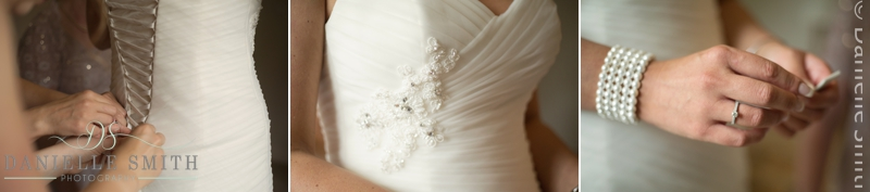 bridal details on dress and jewellery