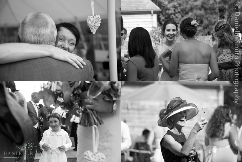black and white candid photography of wedding guests