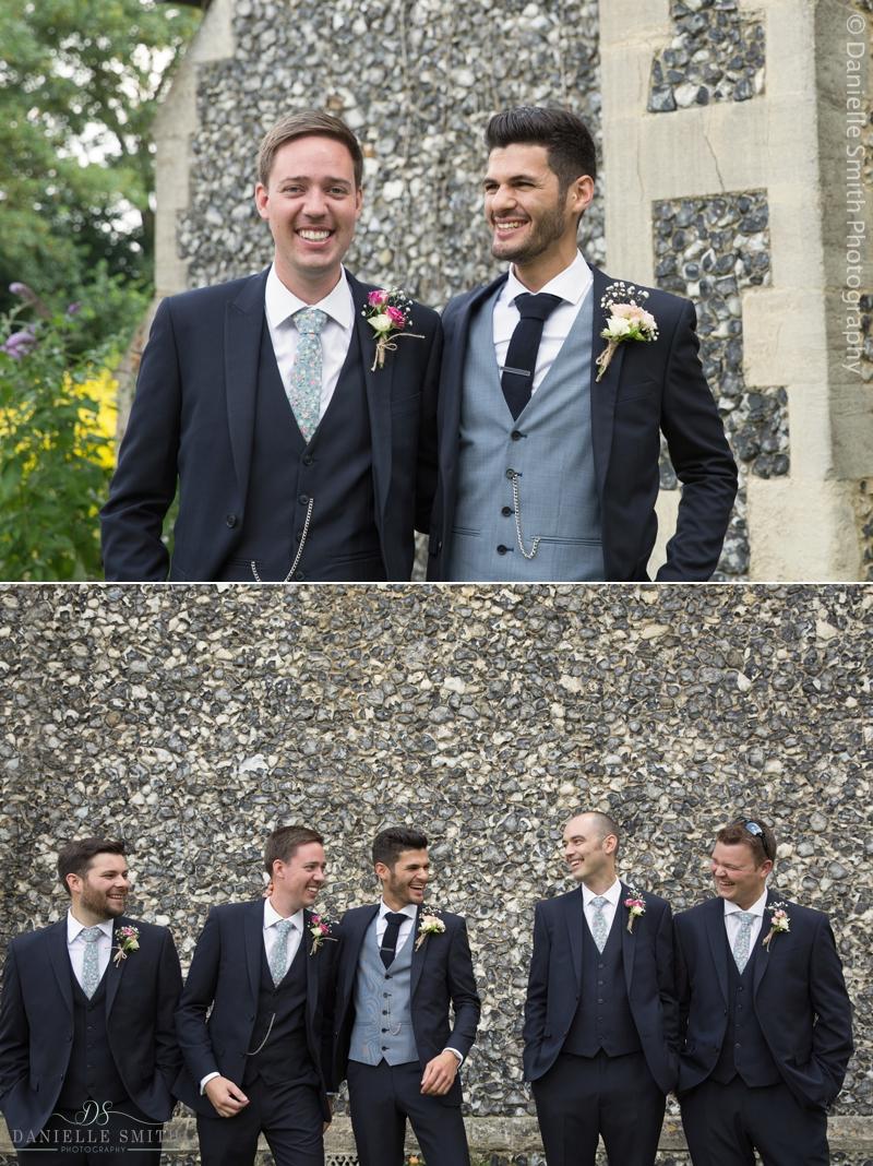 groom and groomsmen natural photos at church