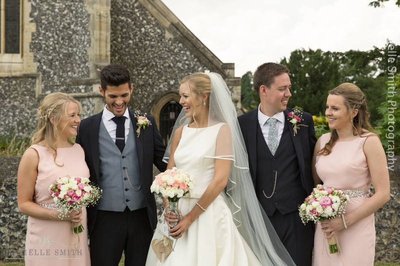bridal party outside havering-atte-bower church wedding
