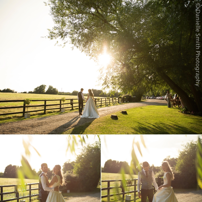bride and groom sunset photos old brook barn