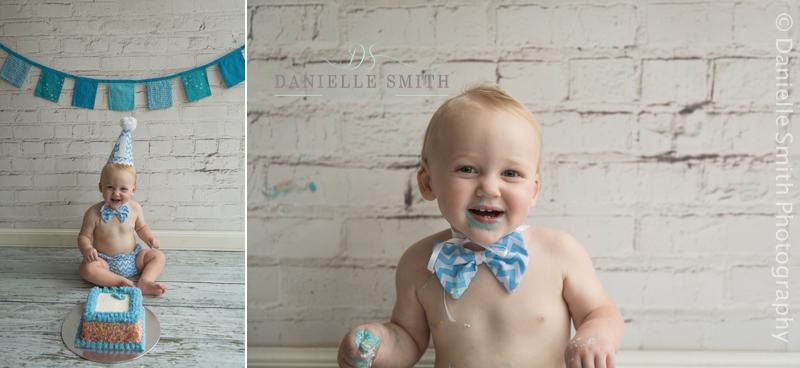 boy eating blue birthday cake - cake smash photography essex