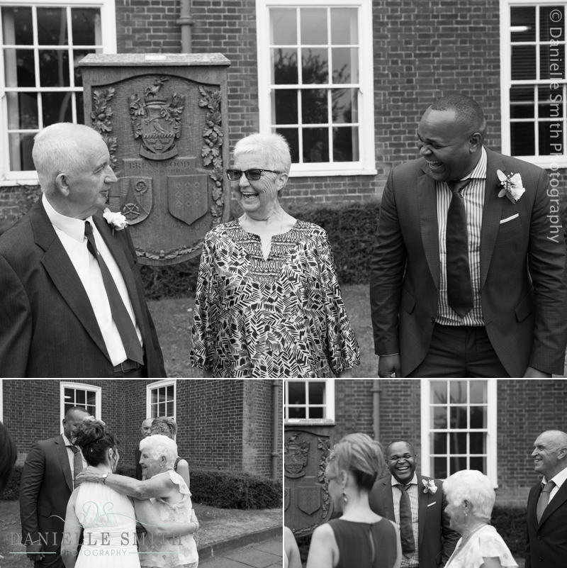 wedding guests outside brentwood registry office