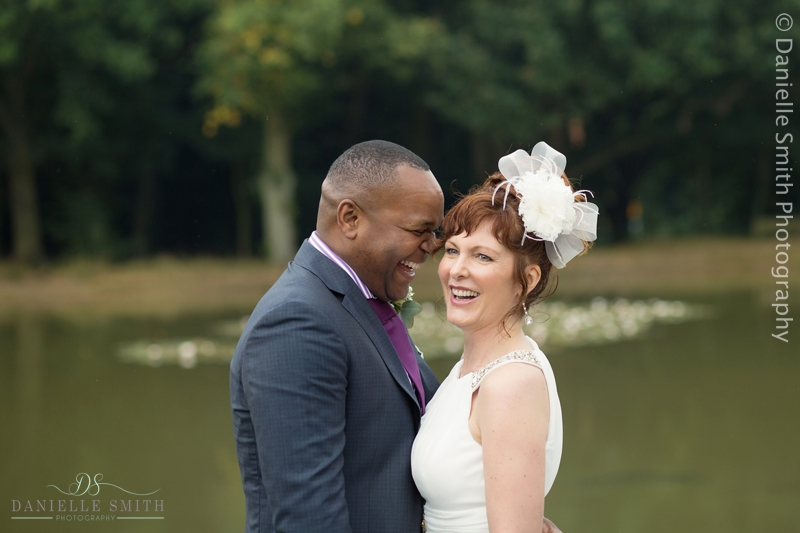 couple by pond- intimate wedding brentwood