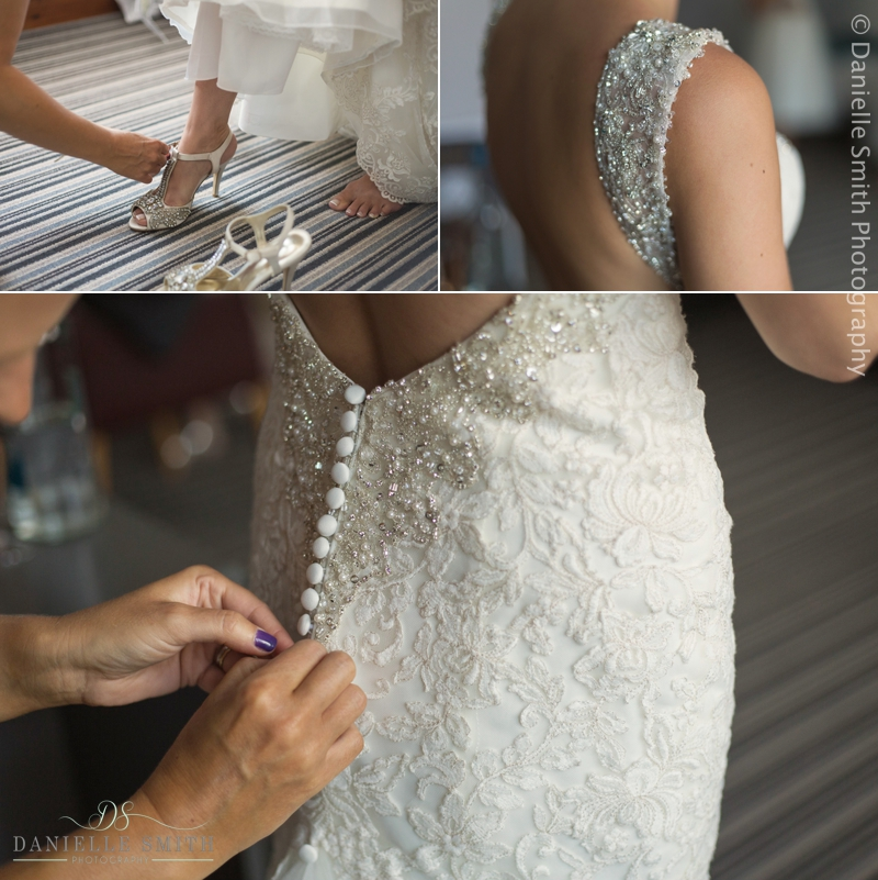 bridal details - shoes and dress