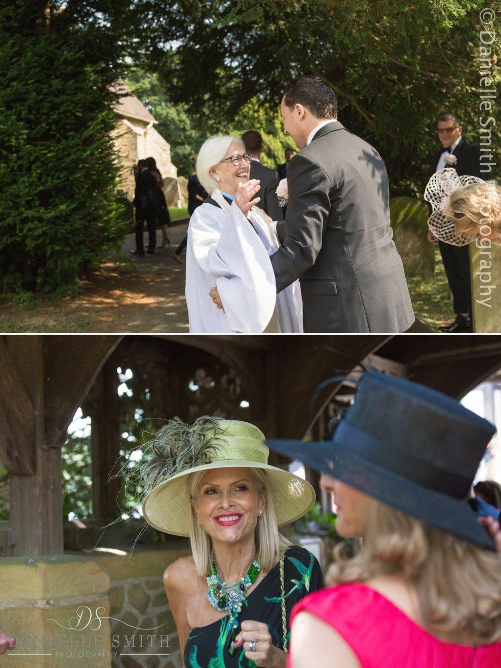 vicar greeting groom at Hever church