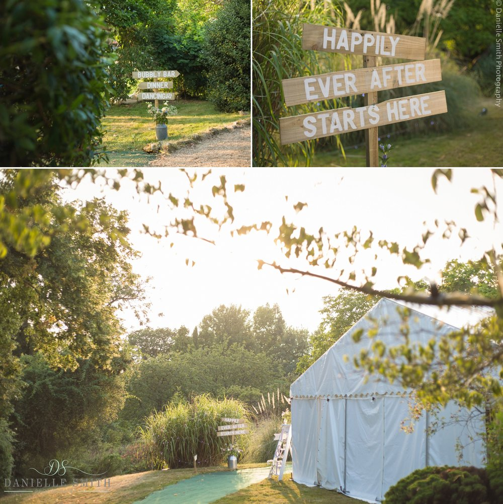 sunset over marquee at garden wedding