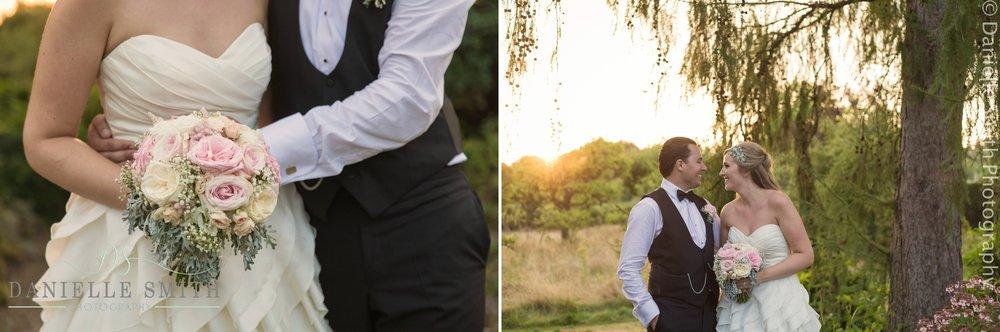 bride and groom in gardens in kent