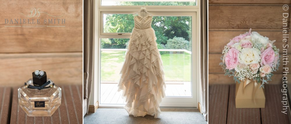 ruffled wedding dress and pink and ivory flowers