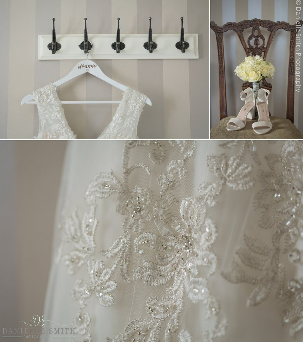 bridal details at the fennes wedding venue