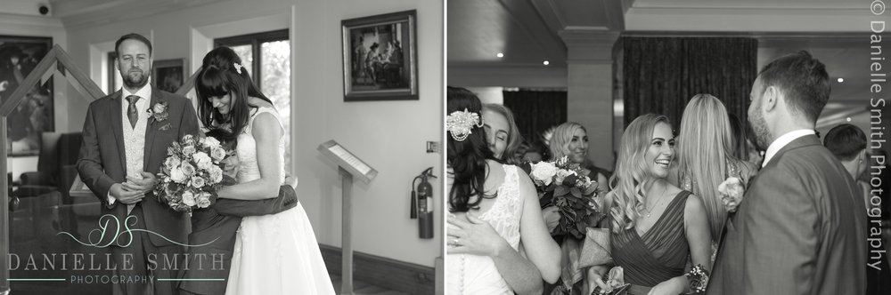 guests greeting bride and groom after married