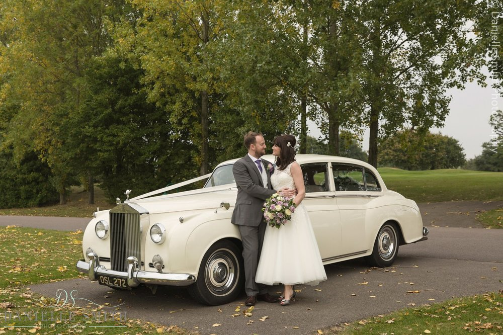 bride and groom with vintage car - 1920s style wedding