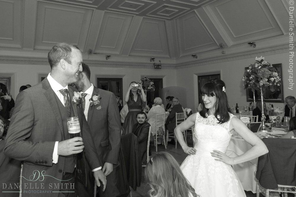 bride lunging in wedding dress