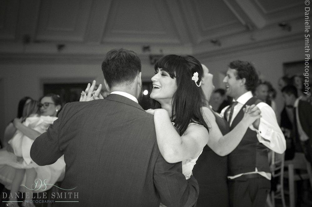 bride and groom dancing - 1920s style wedding