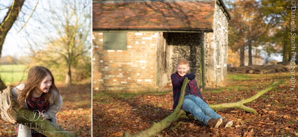 kids playing on tree in autumn photo shoot