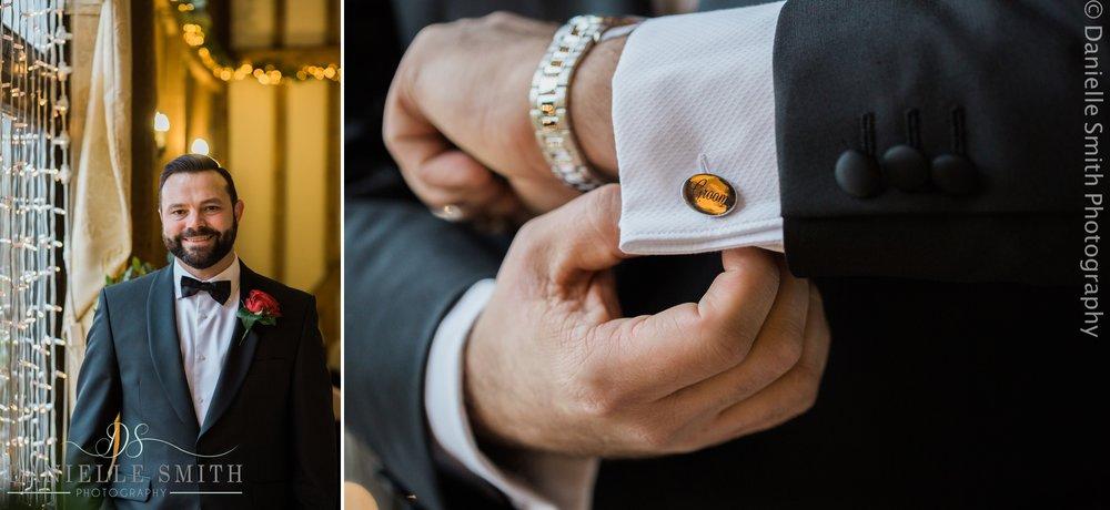 groom in black tuxedo - new years eve wedding