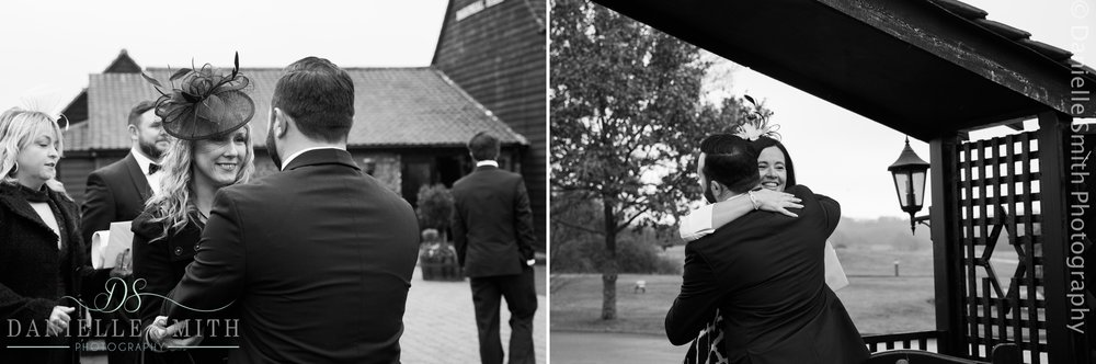 candid photos of wedding guests arriving at crondon park
