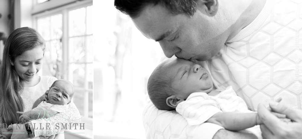 dad kissing baby's head - newborn photography brentwood