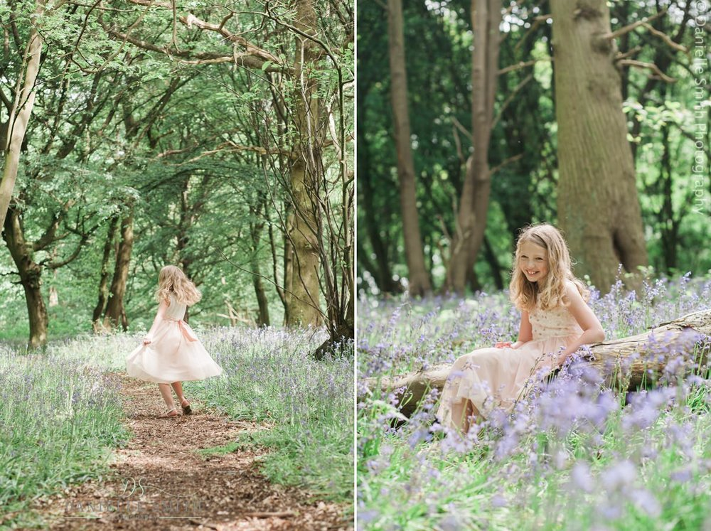 little girl in bluebell woods family photography session