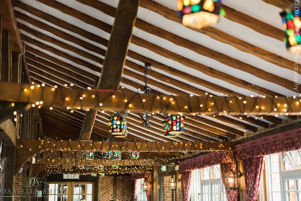 inside the barn at ye olde plough house wedding