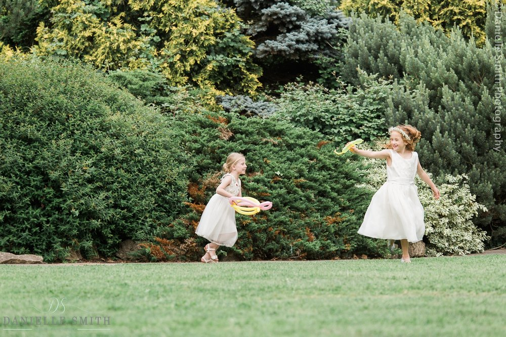 kids playing outside at wedding