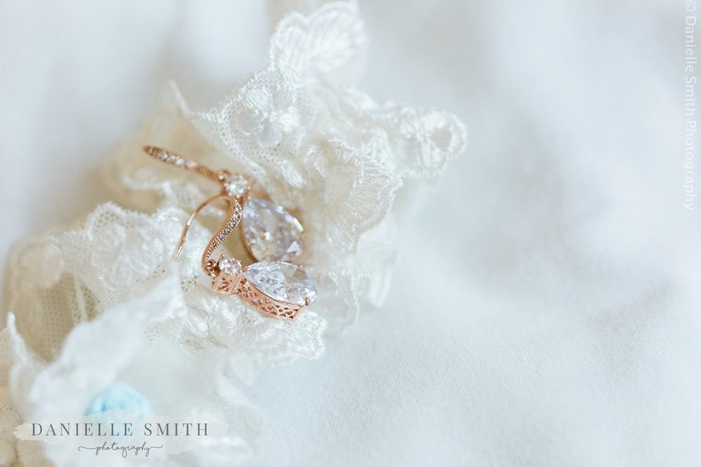 garter and earrings - spring pastel coloured wedding