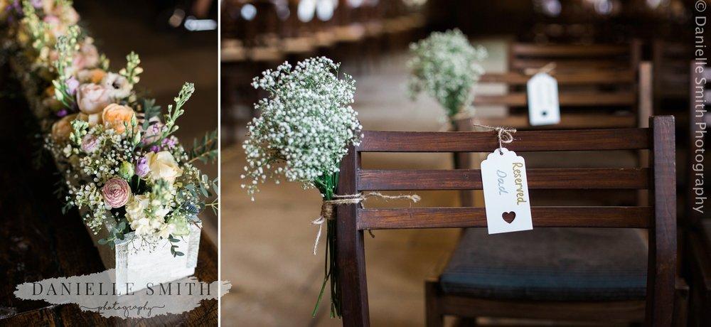 spring pastel flowers and gypsophelia wedding decor
