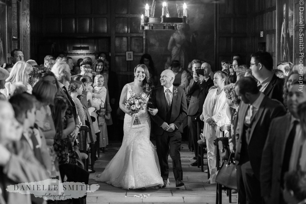 bfather of the bride walking her down the aisle at ingatestone hall