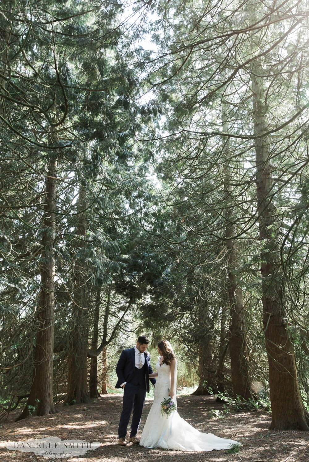 bride and groom wedding photography in forest